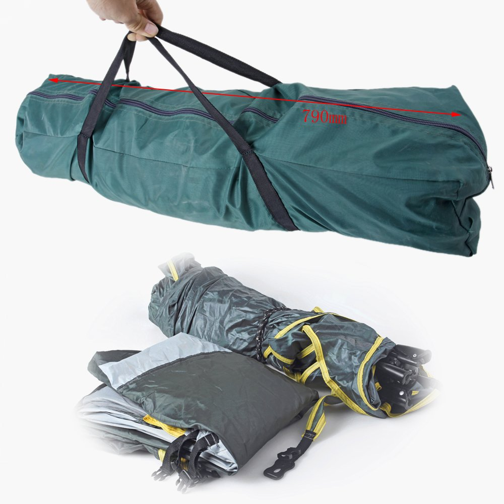 Flexzion Instant Dome Tent - 2-3 Person Automatic Double Layer Waterproof for Outdoor Sports Family Camping Hiking Travel Beach with Zippered Door and Carrying Bag in Army Green by Flexzion (Image #5)