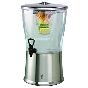 Service Ideas CBDRT5SS Beverage Dispenser, Round, 5 Gallon,Stainless Steel w/Ice Well and Infuser Tube, Silver