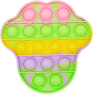 XMY Pop Bubble Sensory Fidget Toy [Food Grade Silicone] Pop Game Educational STEM Playing Board Stress Reliever Squeeze Sensory Fidget Toy for Kids Adults.(Bear Style-Multi)