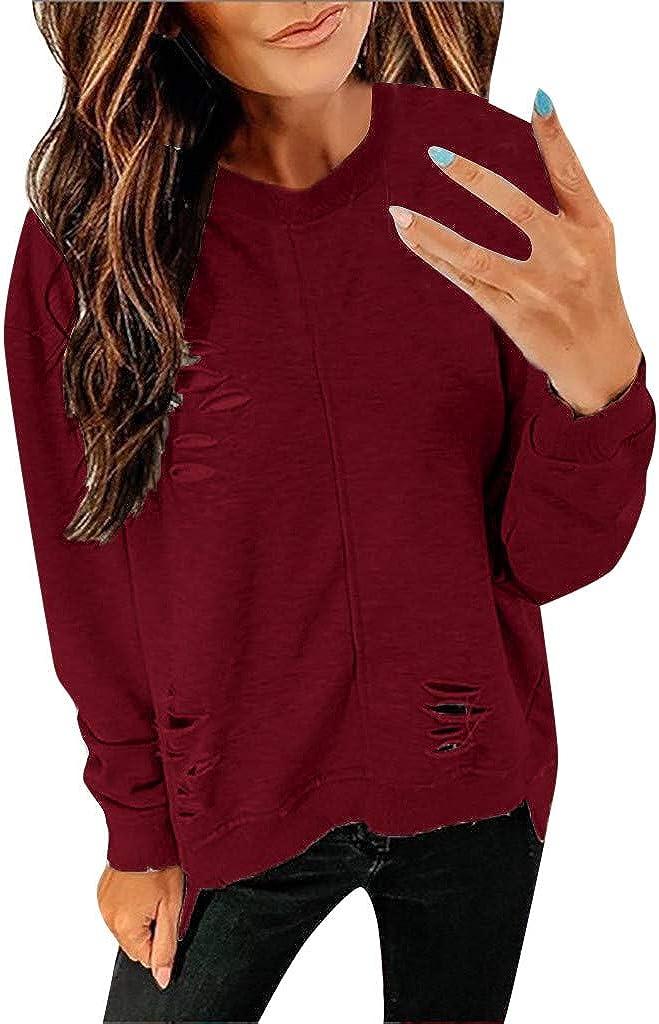 Long Sleeve Tee Blouse Women, Amiley Women Broken Hole Crewneck Fashion Autumn Long Sleeve T Shirts Tunic Casual Tops Blouses