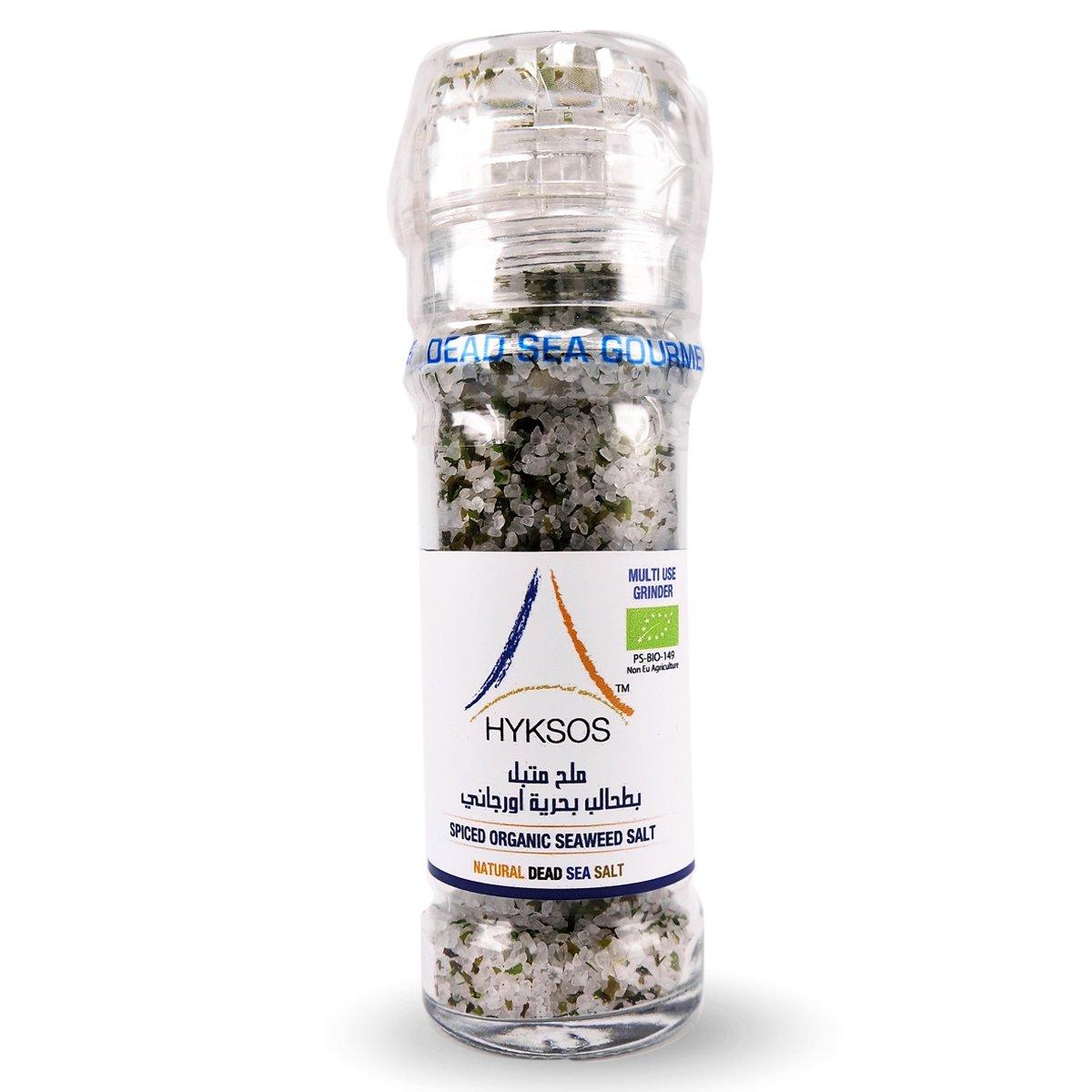 Hyksos Natural Spiced ORGANIC Seaweed Salt 3.9 oz - Multi Use Grinder