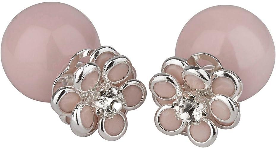 Bijou fantaisie boucles d/'oreille roses paillettées diametre 3,5 cm