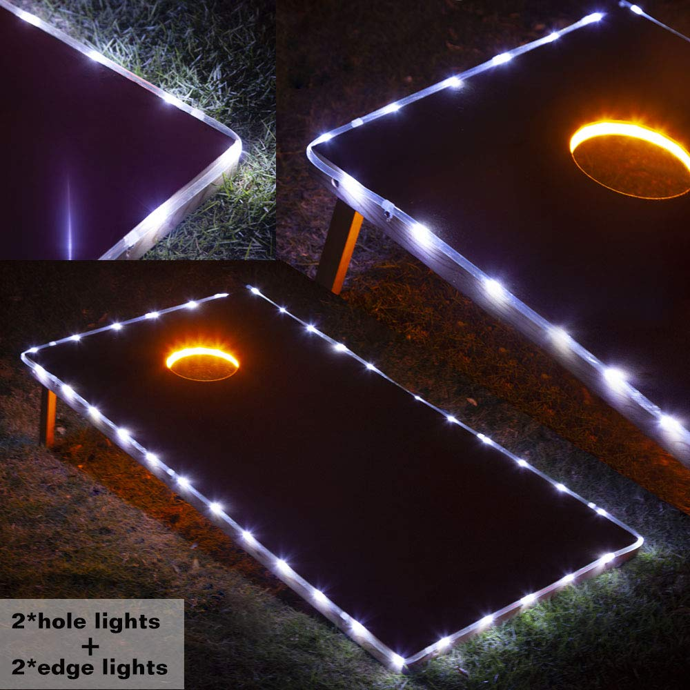 Blinngo Cornhole Ring Lights and Cornhole Edge Lights, LED Cornhole Lights fit for Standard Cornhole Boards and Cornhole Bags(Gold) by Blinngo
