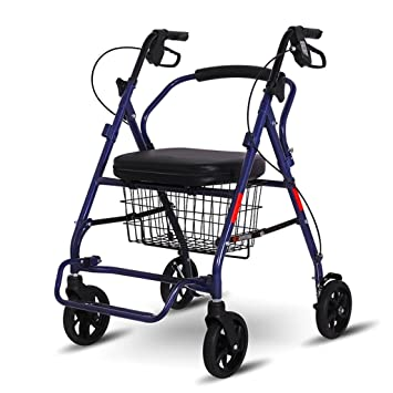 Carro de Compras Carro Viejo Carro de Compras Plegable Carro de Andar Muletas Portátil y Sentado
