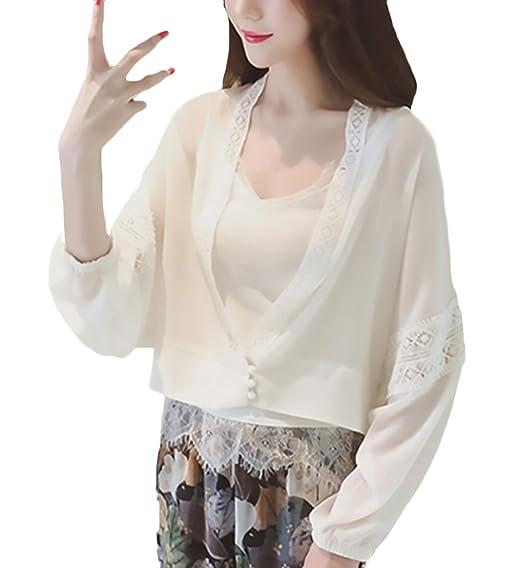 Cardigan Mujer Moda Joven Elegantes Verano Chiffon Proteccion Solar Vintage Cortos Abrigos Manga Larga Breasted Casual