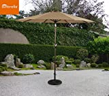 Ulax Furniture 9 Ft Outdoor Umbrella Patio Market Umbrella Aluminum with Push Button Tilt&Crank, Sunbrella Fabric, Heather Beige - Best Reviews Guide