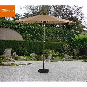 Ulax Furniture 9 Ft Outdoor Umbrella Patio Market Umbrella Aluminum With  Push Button Tiltu0026Crank, Sunbrella Fabric, Heather Beige