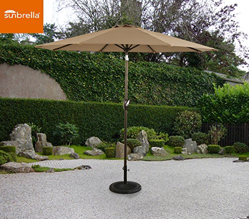9' Outdoor Market Umbrella - Ulax furniture 9 Ft Outdoor Umbrella Patio Market Umbrella Aluminum with Push Button Tilt&Crank, Sunbrella Fabric, Heather Beige