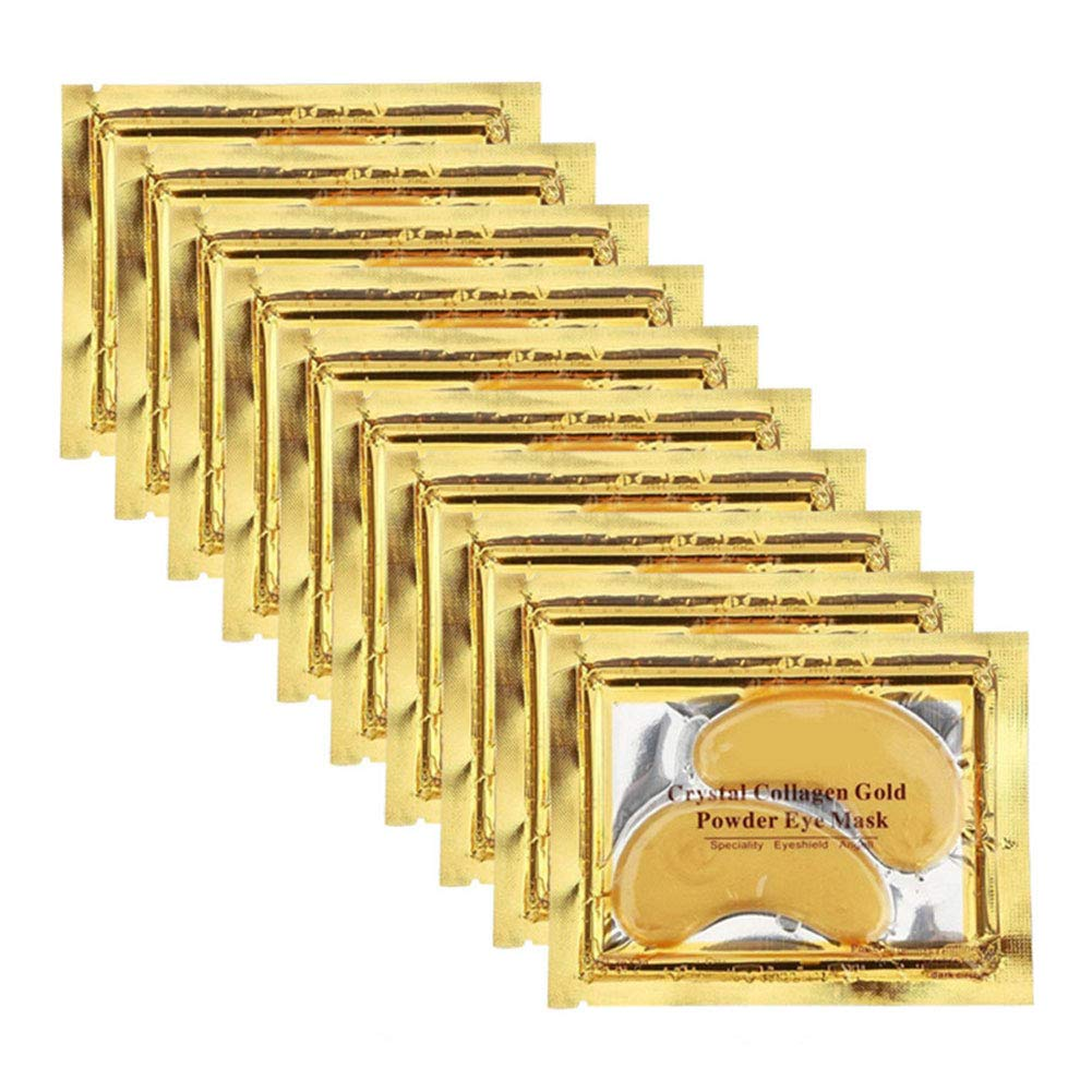 Adofect 24K Gold Collagen Eye Mask, Crystal Power Gel Collagen Eye Patches, Great For Anti Aging, Dark Circles & Puffiness, 30 Pairs (Gold)