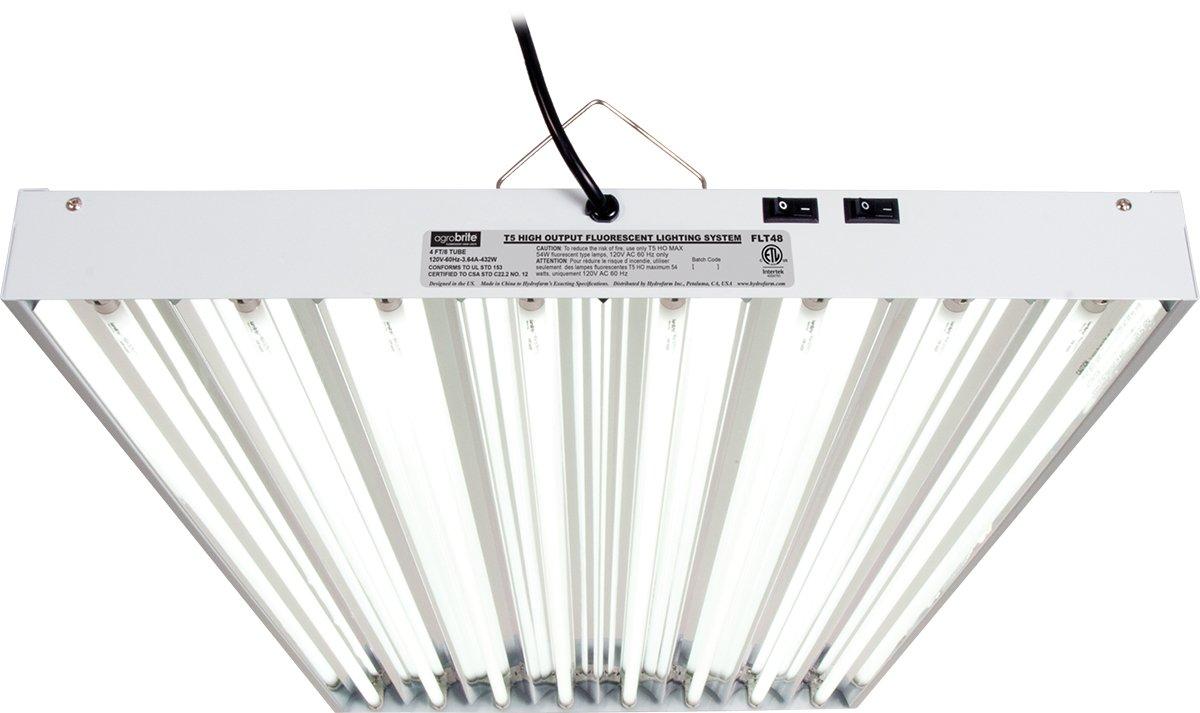2 Foot 2 Tube Hydrofarm Agrobrite FLT22 T5 Fluorescent Grow Light System