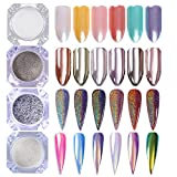 BORN PRETTY 4 Boxes Nail Art Powder Mirror Holographic Laser Rainbow Neon Pearl Pigment Manicure Glitter Dust