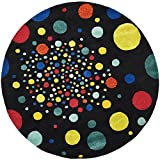 Safavieh Soho Collection SOH728A Handmade Abstract Polka Dots Black and Multi Premium Wool Round Area Rug (6' Diameter)