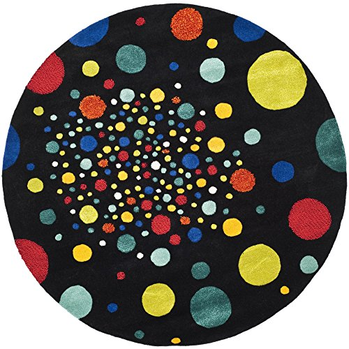 Safavieh Soho Collection SOH728A Handmade Abstract Polka Dots Black and Multi Premium Wool Round Area Rug 6 Diameter