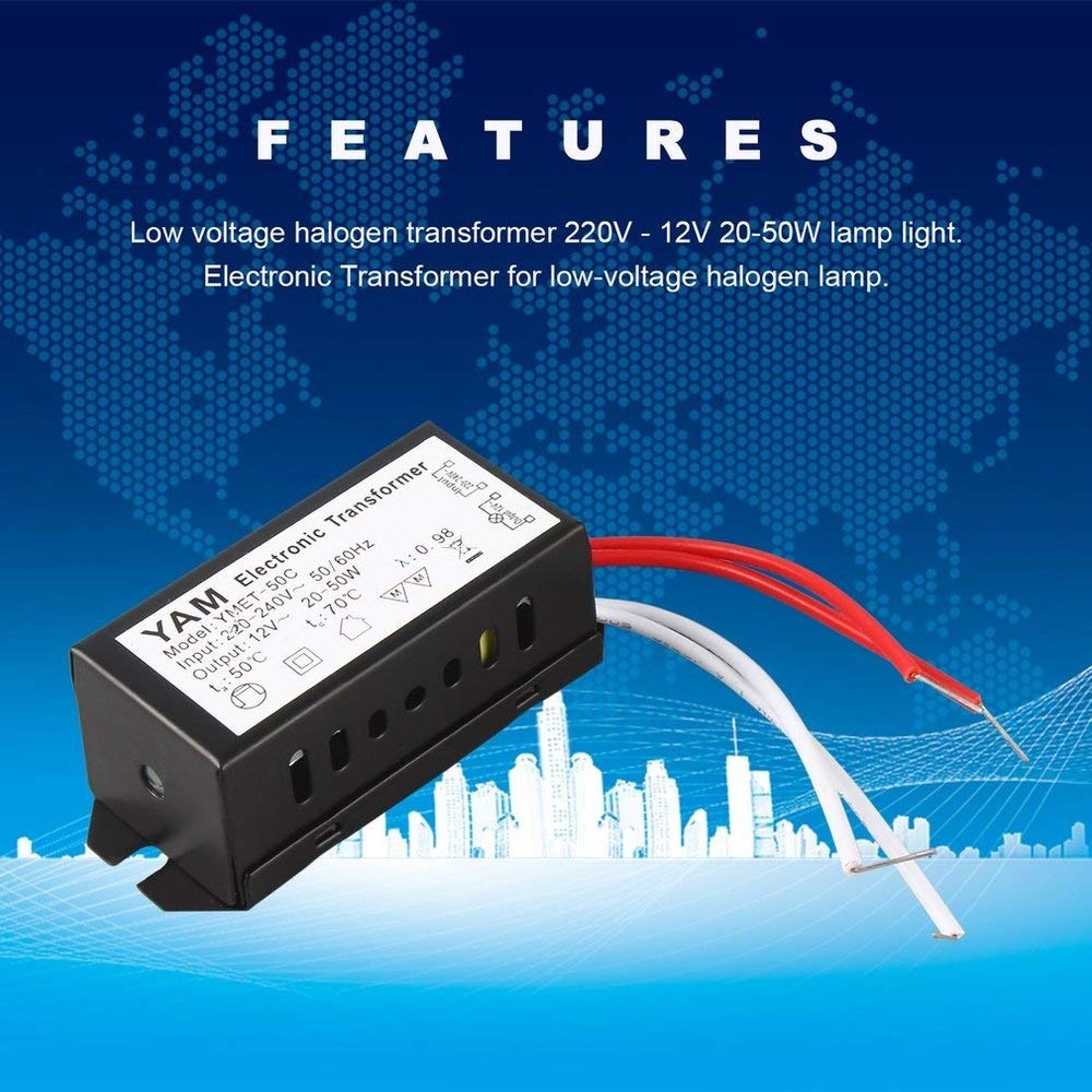Dernion AC 220 V /à 12 V 20-50 W Lampe halog/ène Transformateur /électronique LED Pilote pour lampe halog/ène basse tension