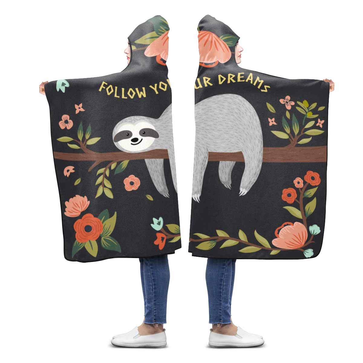 INTERESTPRINT Cute Sloth Flower Wearable Hooded Blanket 80 x 56 inches Adults Blankets Throw Wrap