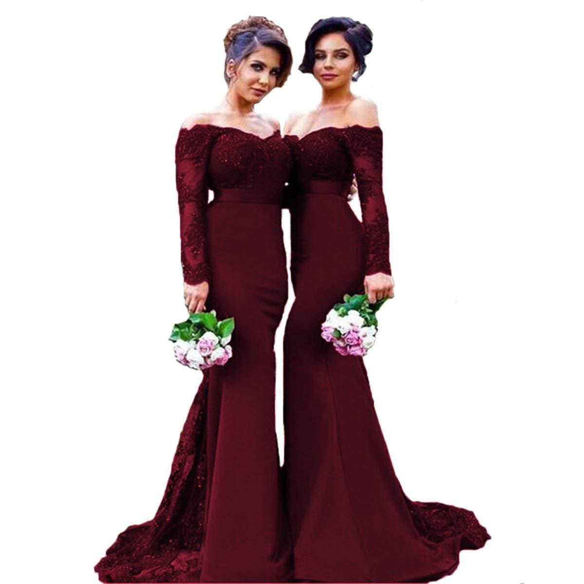 Burgundy LiBridal Women's Lace Bridesmaid Mermaid Prom Wedding Party Off Shoulder Long Sleeve Evening Dress