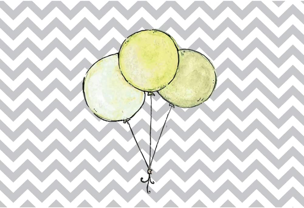 YEELE Cute Gray Stripes Baby Shower Backdrop 10x8ft Yellow Balloons Pastel Color Photography Background Kids Infant Newborn Photos Digital Wallpaper Photobooth Studio Props