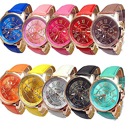 CdyBox Women Men Lady Teen Girl PU Leather Band Watches Roman Numerals Dial Analog Quartz Wristwatches (10 Pack) (Womens Yellow Dial)