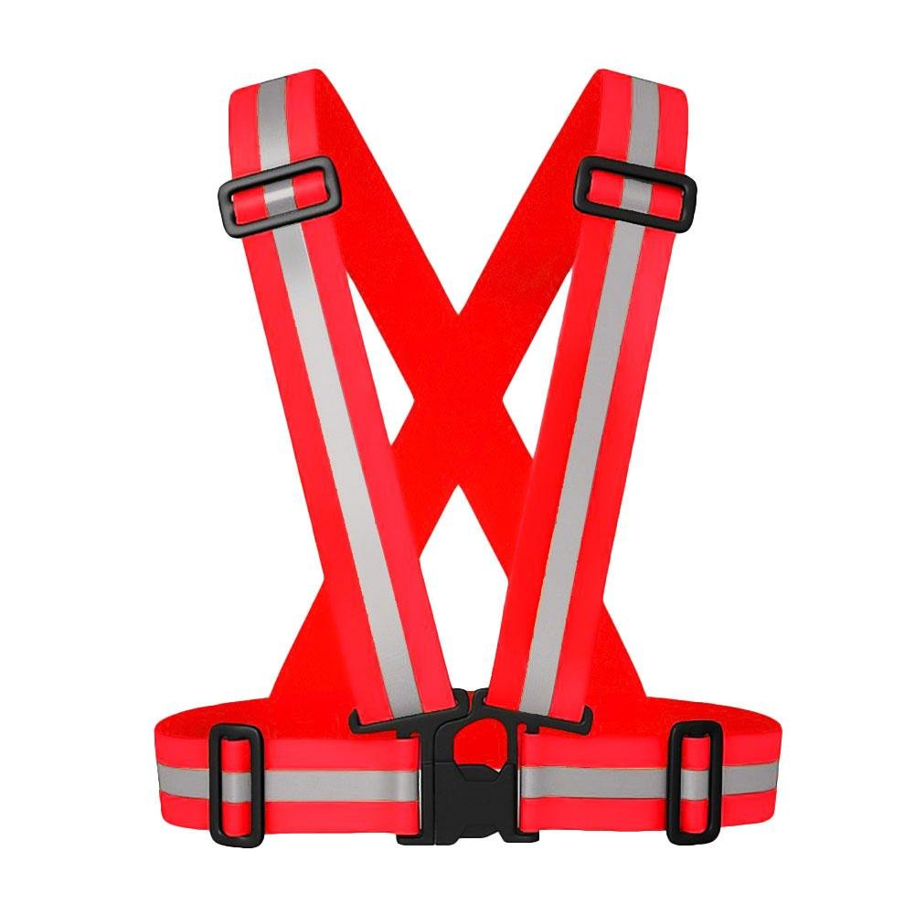 RUNGAO Adjustable Reflective Stripes Safety Vest Strap Red Kids