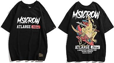 Harajuku Streetwear Hombres Frog Warrier Camiseta de Hip Hop Camiseta de Manga Corta de algodón Camiseta de Verano de la Calle Japonesa: Amazon.es: Ropa y accesorios