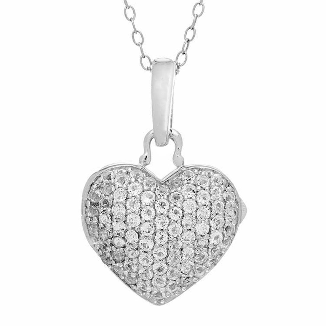 Sterling Silver-White Topaz-Heart Shaped-Custom Photo Locket Necklace-18-inch chain-The Carly by With You Lockets