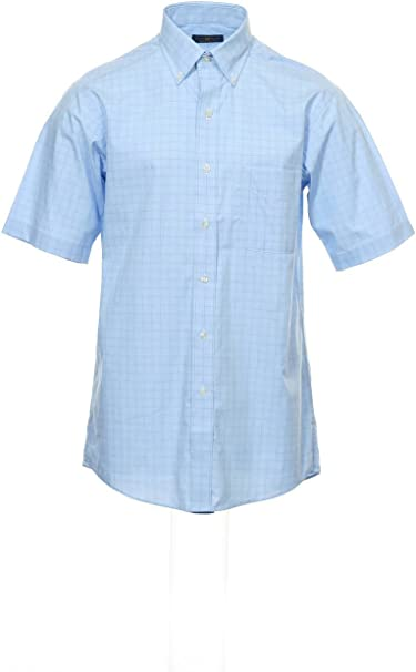 Club Room Mens White Stretch Wrinkle Resistant Short Sleeve Button Down Shirt