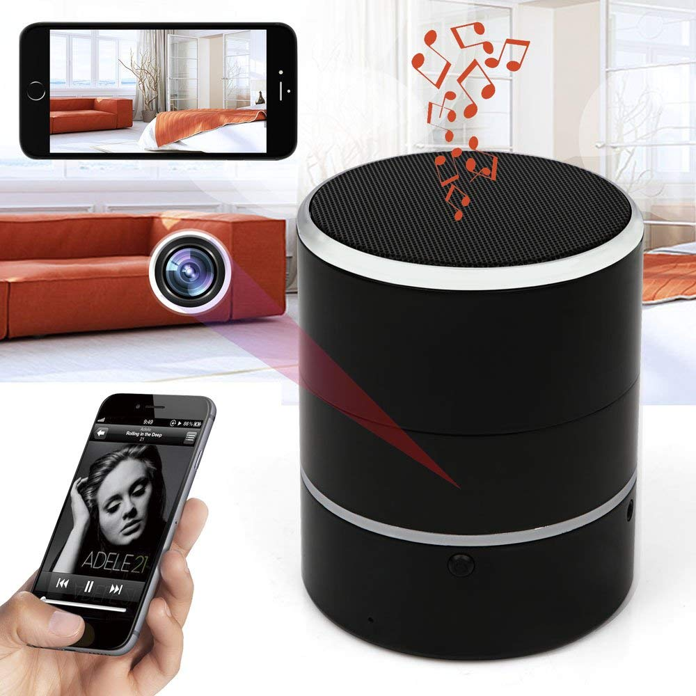 Hidden Camera 1080P WiFi HD Spy Cam - Bluetooth Speakers Wireless Mini Camera Rotate 180° Video Recorder Motion Detection Real-Time View Nanny Cam by K-arm