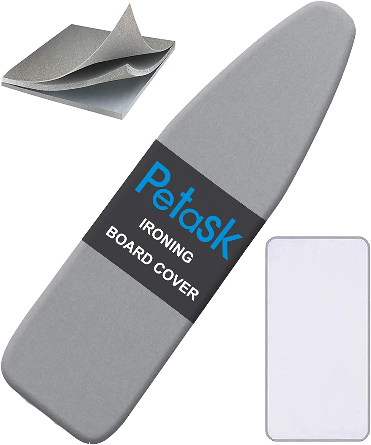 Amazon Com Petask Ironing Board Cover And Pad Silicone Coated Resists Scorching And Staining Ironing Board Pads With Elastic Edges 15 X54 Gray Home Kitchen