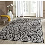 Cheap Safavieh Vintage Collection VTG437P Transitional Floral Damask Black and Light Grey Distressed Area Rug (9′ x 12′)