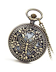 Lancardo Cool Vintage Hollow Out Skeleton Butterfly Pocket Fob Watch With Chain