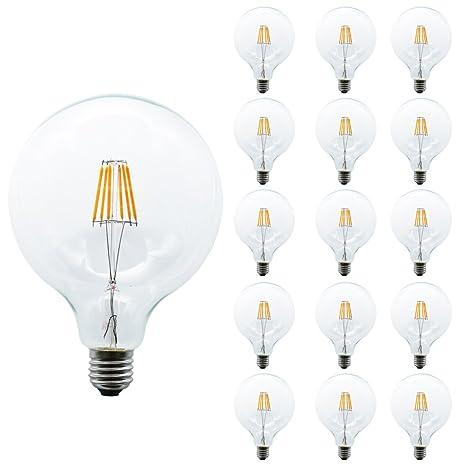 mengjay® 15 piezas G125 6 W 6 LED de Edison Bombilla de filamento blanco cálido
