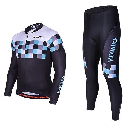 Asvert Maillot de Ciclismo Hombre Mangas Largas Ropa para Bicicleta 3D Cojín Conjunto Bici de Montaña Chaqueta+Pantalones Culote de Ciclista Largo ...