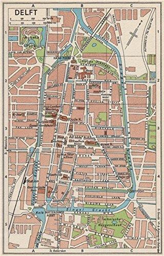Amazoncom DELFT Vintage town city map plan Netherlands 1961