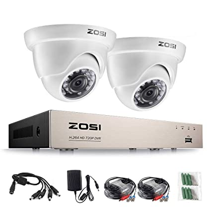 ZOSI CCTV Kit Sistema de Seguridad, 4CH 720P HD-TVI DVR Grabador de Video