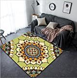 Vanfan Design Home Decorative 404676961 Seamless art colorful pattern East ornament with gold contour and colorful details on the turquoise background Tracery of mandalas for textile Modern Non-Sli
