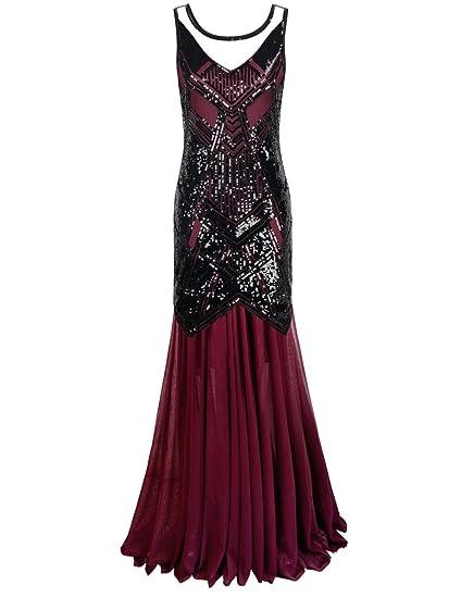 PrettyGuide Women 1920s Flapper Ball Gown Sequin Art Deco Long Cocktail Formal Dress: Amazon.co.uk: Clothing