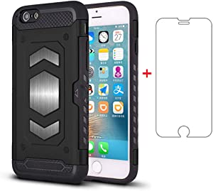 Phone Case for Apple iPhone 6 6s with Tempered Glass Screen Protector Cover Cell Accessories Credit Card Holder Wallet iPhone6 Six i6 S iPhone6s iPhine6s iPhones6s i Phone6s Phone6 6a Girls Men Women