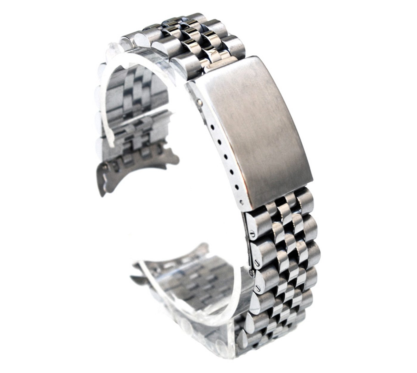SS Jubilee Solid Link 20mm Curved Ends Watch Band