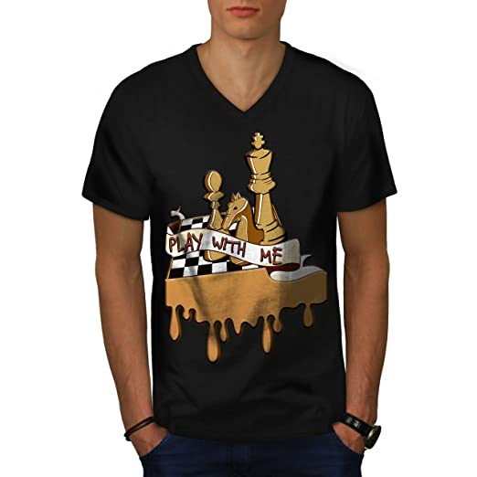 27e2659c5 Amazon.com: wellcoda Play Chess with Me Mens V-Neck T-Shirt, Game ...