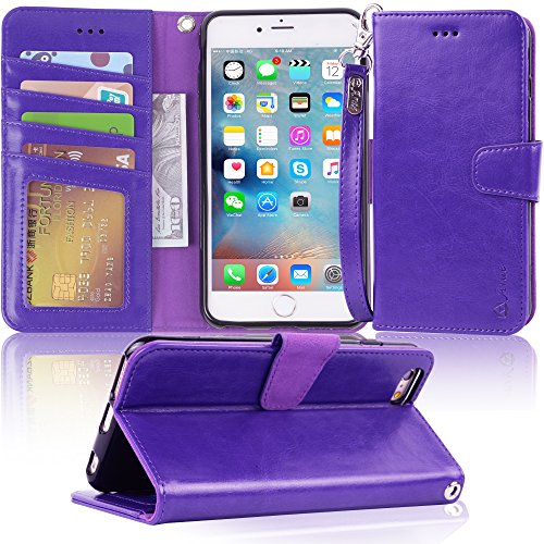 Arae wallet case for iPhone 6s Plus / iPhone 6 plus [Kickstand Feature] PU leather with ID&Credit Card Pockets For Iphone 6 Plus / 6S Plus 5.5 (not for 6/6s) (Purple)