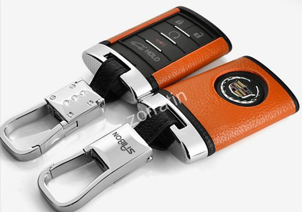 Luxury Orange Real leather Key Case Cover with Chain for Cadillac ATS CTS DTS XTS Escalade or Chevrolet Corvette C7 (1 set consisting of 1 Key Chain+ 1 cover)