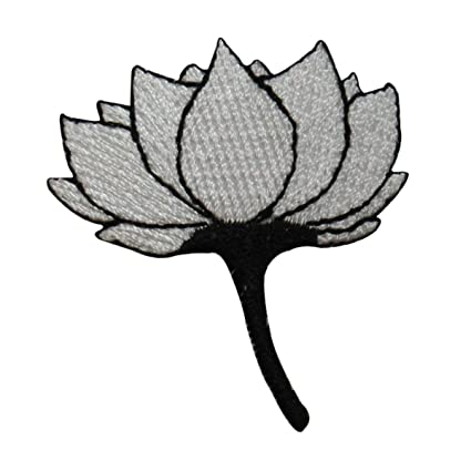 Amazon.com: ID #6821 White Lotus Flower Black Stem Iron On ...