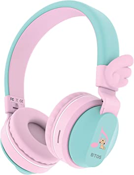 Amazon Com Riwbox Bt05 Bluetooth Kids Headphones Wireless Foldable Headset Over Ear With Volume Limited And Mic Tf Card Compatible For Ipad Iphone Tablet Pink Green Home Audio Theater