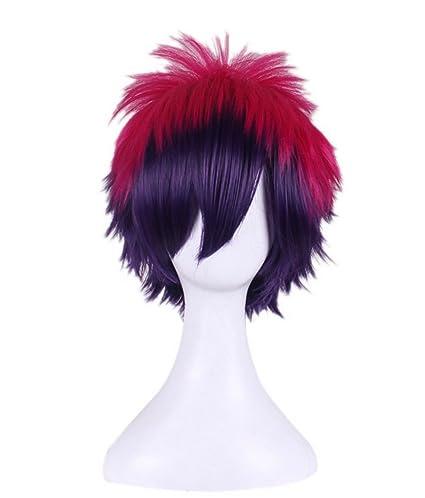 TF Anime Cosplay Peluca Corta Rojo y Morado Mezcla Peluca Disfraz Accesorios Disfraz de Peluca para