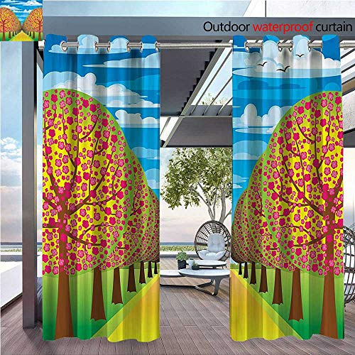 (DESPKON Environmental Protection Material Polyester Flowering Cherry Trees with Clear Sky and Flying Birds Pastel Home for Living Room Window,Sun Insulation. W72 x L72 INCH)