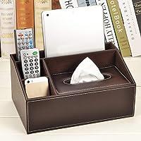 Boîte à mouchoirs de rangement 5 compartiments en cuir PU télécommande téléphone tablette bureau bureau voiture