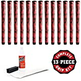 Winn Dritac X Midsize +1/16'' Red/Black Golf Grip Kit With Tape Solvent Vise Clamp (13 Piece)