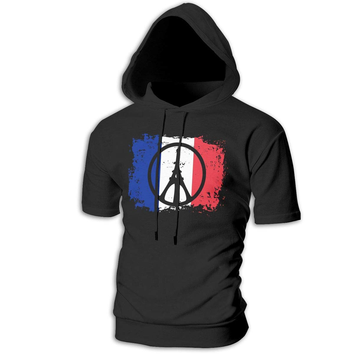 Peace for Paris France Eiffel Tower Mens Cool Short Sleeve Hoodie Pullover Soft Hooded T-Shirt
