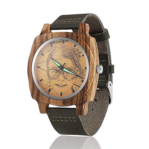 Reloj de Madera con Foto Personalizada Reloj de Bambú Natural para Hombre Relojes de Cuarzo Hechos ...