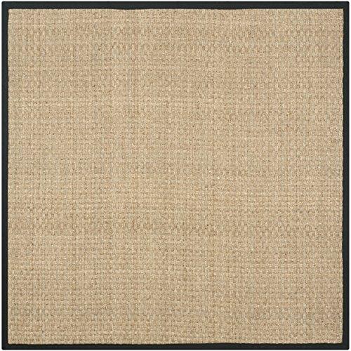 10 Square Black Rug (Safavieh Natural Fiber Collection NF114C Basketweave Natural and  Black Seagrass Square Area Rug (10' Square))